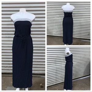 J Crew strapless navy maxi dress with pockets